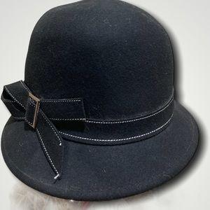 De Lux Black Wool Clouche Hat 57CM